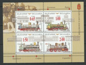 Bulgaria 2015 Trains Locomotives / Railroads MNH sheet