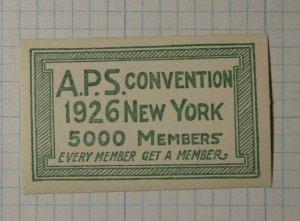 APS Convention 1926 NY 5000 Members Philatelic Souvenir Ad Label