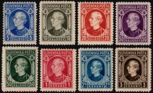 ✔️ SLOVAKIA 1939 - ANDREJ HLINKA PERF 12½ - SC.26/33 MNH OG [SK0026]