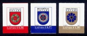 Latvia Sc# 926-8 MNH Municipal Arms (S/A)
