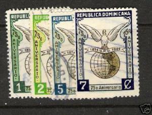 DOMINICAN REPUBLIC UPU 433-6 VFU BIRDS