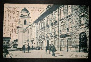 1908 Atrio de la Catedral Medellin Columbia Belgium Real Picture Postcard Cover
