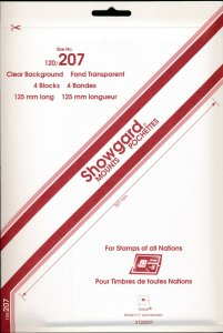 Showgard Stamp Mount 120/207 mm - CLEAR (Pack of 4) (120x207  207mm)  PRECUT