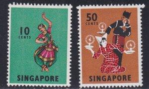 Singapore # 88 & 93, Dancers, Hinged, 1/3 Cat.