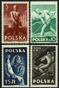 Poland 413-16  MNH - Laborer/Farmer/Fisherman/Miner (1947)