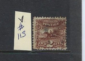 US #113- 1869 POST HORSE 2 CENTS PERF 12 (GRILL) - USED