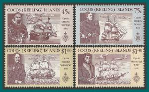 Cocos 1990 Navigators & Ships, MNH 218-221,SG223-SG226