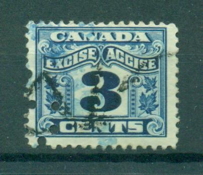 Canada 3 Cent Excise Stamp Used Punch Cancel Cat Value 100 HipStamp