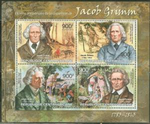 CENTRAL  AFRICA 2013 150th MEMORIAL ANNIVERSARY JACOB GRIMM  SHEET  MINT  NH