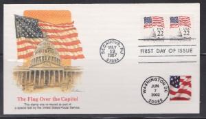 2115c & 3623 Flag over Capitol dual cancel Unaddressed Fleetwood FDC