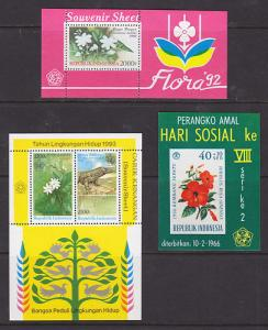 Indonesia Sc 1515/B198 MNH. 1966-92, 3 Flowers S/S-s