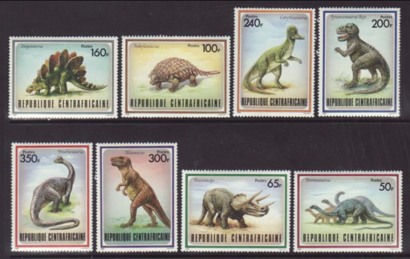 Central African Republic 872-879 Dinosaurs MNH VF