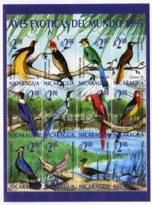 Nicaragua 1995 EXOTIC BIRDS Sheet 12v Perforated Mint (NH)