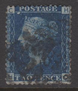 Great Britain 1858 QV 2d Blue Sc#29 Plate 8 Position HC  Used