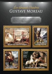 CENTRAFRICAINE 2013 SHEET GUSTAVE MOREAU ART PAINTINGS