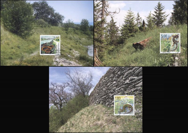 Liechtenstein. 2015. Reptiles (Mint) Set of 3 Maxi Cards