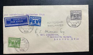 1934 Rotterdam Netherlands Airmail Cover To London England