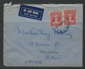 CANADA - NEWFOUNDLAND AVALON FLEET MAIL OFFICE (FMO) 1945 COVER TO MIMICO, ON