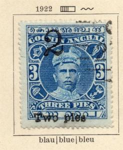 Cochin 1922 Early Issue Fine Used 2p. Surcharged 322456