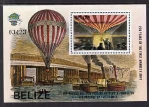 Belize 678 Hot Air Balloon Souvenir Sheet MNH VF
