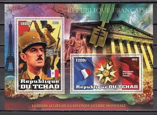 Chad, 2012 issue. Charles de Gaulle s/sheet.