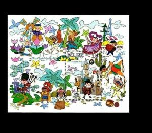 BELIZE - 1985 - DISNEY - SMALL WORLD - MONTAGE - CHARACTERS - MINT MNH S/SHEET!