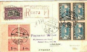 ESTONIA Cover *Tartu* Registered Superb Franking EARLY ISSUES Blocks{4}1926 FC36