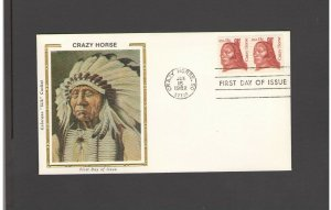 USA: #09 /**CRAZY HORSE-SD CANCEL** / SILK CACHET- FDI- Excellent Condition