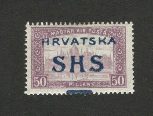 CROATIA-SHS YUGOSLAVIA-MH STAMP-ERROR MOVED OVERPRINT , 50 f -1918.