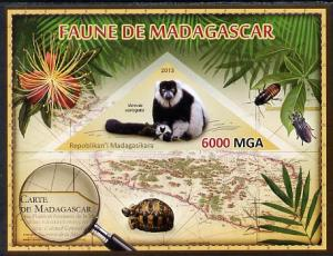 Madagascar 2013 Fauna - Ruffed Lemur imperf sheetlet cont...
