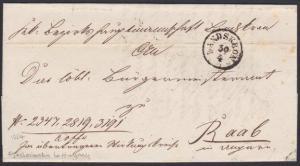 CZECHOSLOVAKIA TO HUNGARY 1834 folded cover LANDSKRON TO RAAB..............53847
