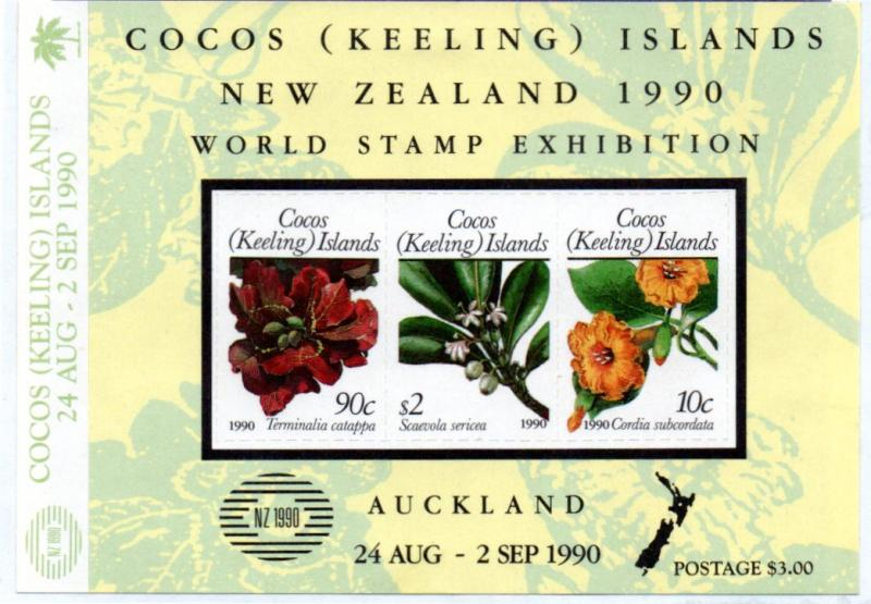 COCOS ISLAND 217 MH S/S SCV $12.00 BIN $5.50 STAMP EXPO, FLOWERS