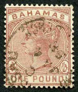 Bahamas SPERATI FORGERY 1884 One Pound Venetian Red cancelled by part Nassau CDS