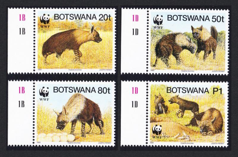 Botswana WWF Brown Hyena 4v with left margins inscripts SG#809/12 SC#586 a-d