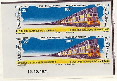Mauritania - 1971 Train Corner Imperf. Pair mint