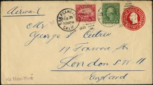 #C6 ON 1925 COVER FROM SAN FRANCISCO TO ENGLAND VIA NEW YORK BP9673