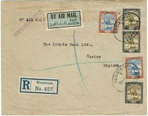 Sudan 1935 Khartoum cancel on registered, airmail cover to England
