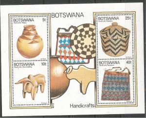 BOTSWANA, 1979, MNH SSheet of 4, Handicrafts. Scott 233a