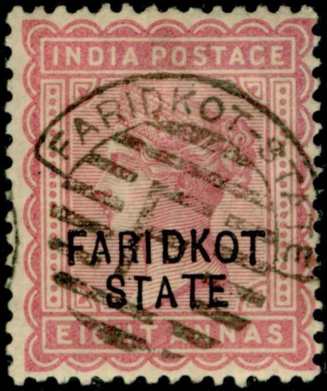 INDIA - Faridkot SG13, 8a magenta, FINE USED. Cat £180.