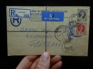 Rhodesia & Nyasaland 4d RLE uprated QE 1/- 3d Lilongwe to Scotland(14bek)