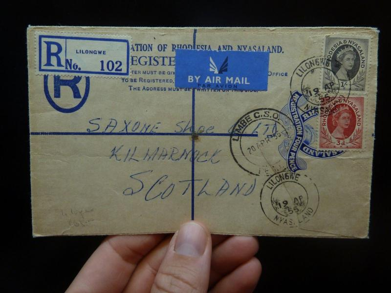 Rhodesia & Nyasaland 4d RLE uprated QE 1/- 3d Lilongwe to Scotland(14bek)