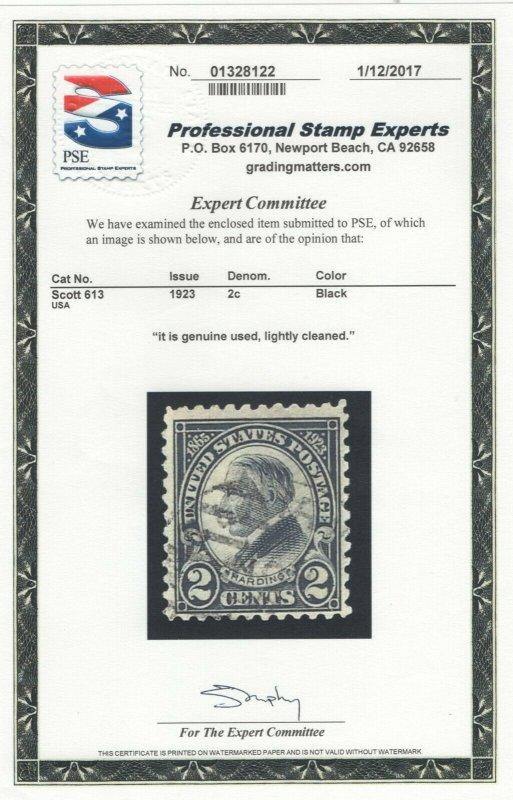 #613 GP-Used - Rarity, F-VF with P.S.E. Cert.  SEE DETAILS  (GD 5/4)
