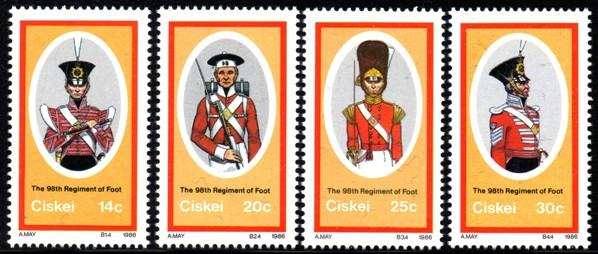 Ciskei - 1986 British Military Uniforms Set MNH** SG 95-98