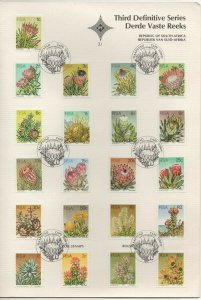 Republic of South Africa 1977 Floral Series on Card 21 Regular & Coil Stamps F
