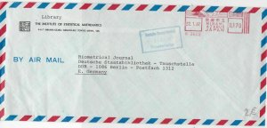 Japan 1987 Inst. Statistical Mathematics Airmail Meter Mail Stamps Cover Rf28732