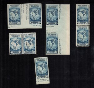 United States 753 768 MNH Cat $60.00 gutters lines