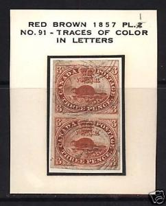 Canada #4a Used Superb Pair Plate #1 Pos 91