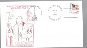 United States, 1598, Visit Pope John Paul II Chicago Souvenir Cover, Used #5-2