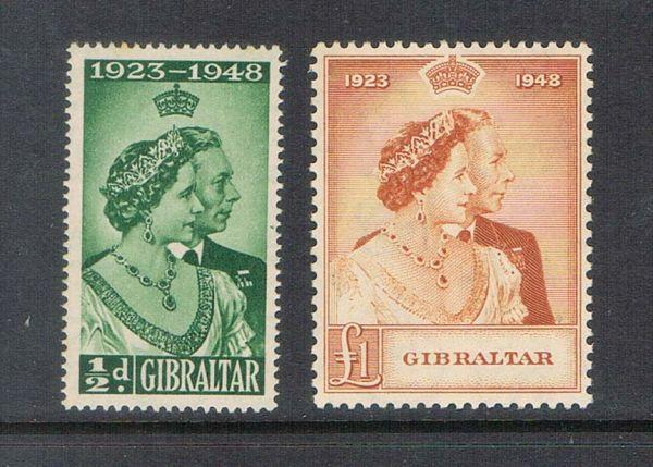 Gibraltar 1948 SG 134-135 Silver Weeding set of 2 MNH