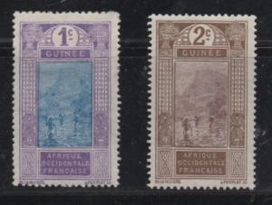 French Guinea Scott# 63, 64  unused hinged